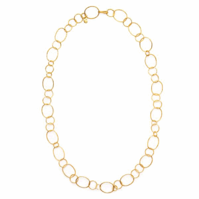 Perfectly lightweight and delightfully lengthy, this ultra-long hoop gold link statement necklace for women is your new must-have by Julie Vos.