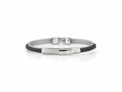 Grey cable 3 row 2.0mm, black leather, 18 karat Yellow Gold and stainless steel. Imported.