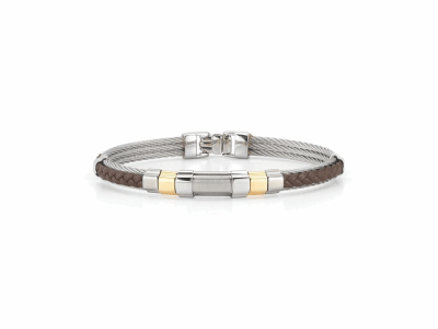 Grey cable 3 row 2.0mm, brown leather and 18 karat Yellow Gold with stainless steel. Imported.