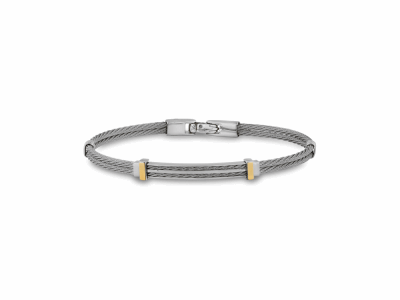 Grey cable, 18kt. Yellow Gold and stainless steel. Imported.