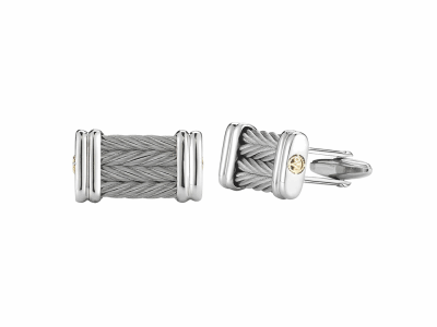 Grey cable 4 row 3.0mm, 18 karat Yellow Gold and stainless steel. Imported.