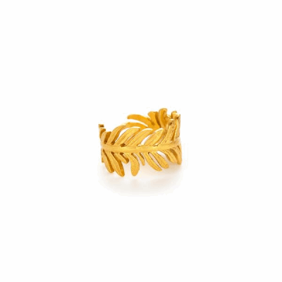 Delicately carved, this open-ended ring adjusts to wrap comfortably around the finger. - 24K gold plate - One size fits all