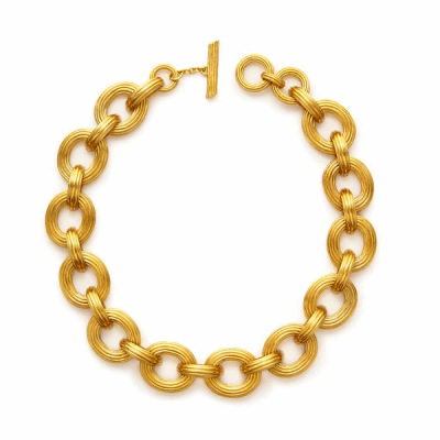 The added texture of smooth fine lines creates a reinterpretation of the classic golden link. -24K gold plate - Adjustable length 17 - 18 inches - Stamped wit