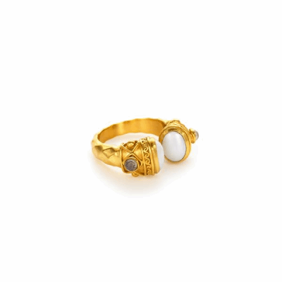 Oval pearls,surrounded by a pattern of golden spirals, areaccented by two delicate labradorite cabochons to complete this open-ended ring. -24K gold plate wi