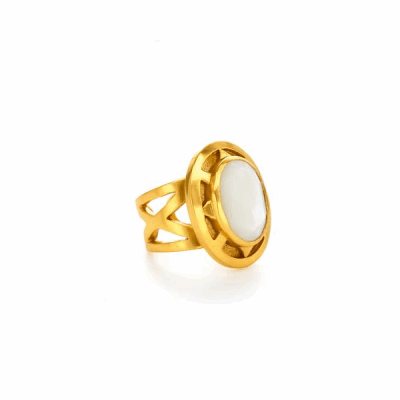 A faceted stone surrounded by a golden crown sits atop an intricately wrought band. - 24K gold plate with faceted iridescent aquamarine blue or faceted mother o