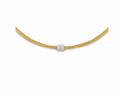 Yellow cable, 18kt. White Gold, 0.14total carat weight. Diamonds and stainless steel, 17″ length. Imported.