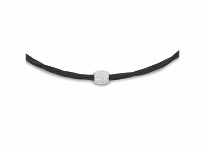 Black cable, 18kt. White Gold, 0.14total carat weight. Diamonds and stainless steel. Imported.