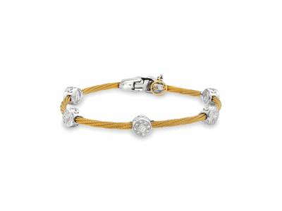 Yellow cable, 18kt. White Gold, 0.23total carat weight. Diamonds w/stainless steel. Imported.