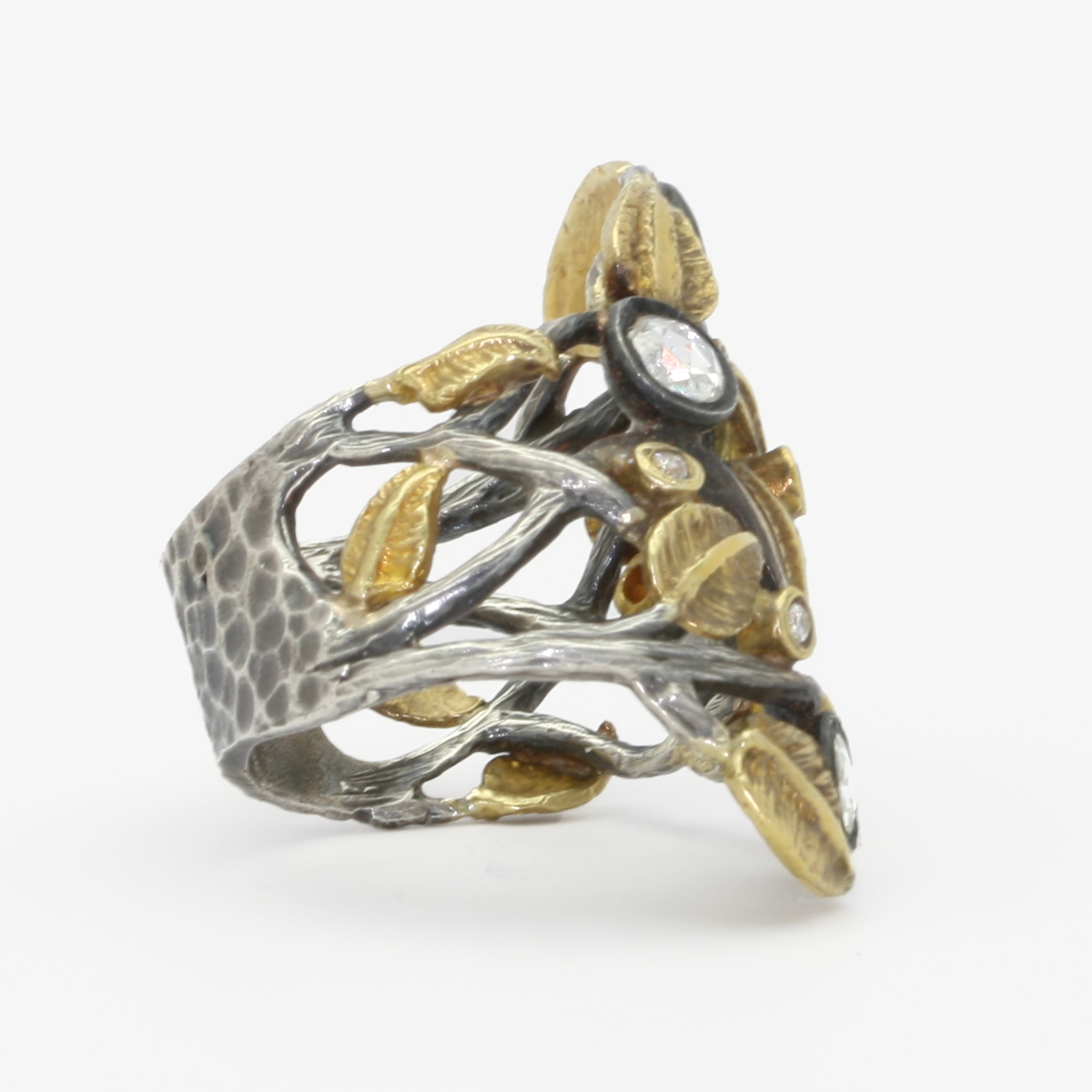 Kurtulan 24K Gold & Oxidized Silver Leaf Diamond Ring - alternate