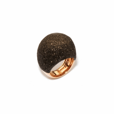 Large Dome Polvere Di Sogni Ring. Sterling Silver with an 18K Rose Gold  Vermeil. Ring contains adjustable butterfly tine along interior of the  ring for easy sizing.