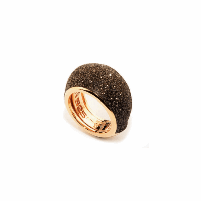 Small Dome Polvere Di Sogni Ring. Sterling Silver with an 18K Rose Gold  Vermeil. Ring contains adjustable butterfly tine along interior of the  ring for easy sizing.