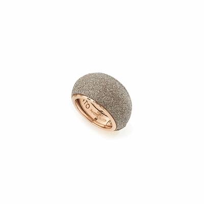 Small Dome Polvere Di Sogni Ring. Sterling Silver with an 18K  Rose Gold Vermeil. Ring features butterfly tines  along interior of the  ring for easy sizing.