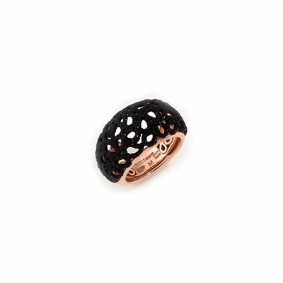 Small Dome Laser Cut Polvere Di Sogni Ring. Sterling Silver with an 18K Rose Gold Vermeil. Ring features butterfly tines  along interior of the  ring for easy sizing.