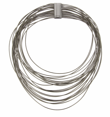 DNA Spring Wide Necklace with Flat Magnetic Clasp. Sterling Silver with a Ruthenium Plating. Sterling Silver mesh gives this piece it's flexibility.