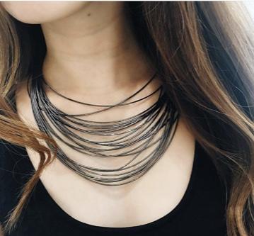 DNA Spring Wide Necklace - Ruthenium - alternate