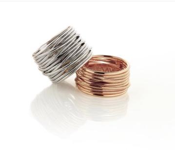 Wide DNA Spring Ring - Rhodium - alternate