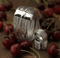 Alternate image 2 for Wide Dna Spring Ring - Rhodium By Pesavento