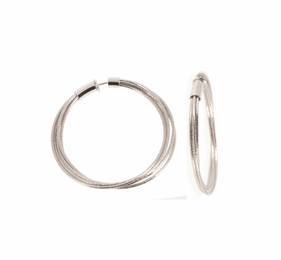 DNA Spring Large Hoop Earrings. Sterling Silver with Rhodium Plating. Sterling Silver Mesh gives this piece it's flexibility.