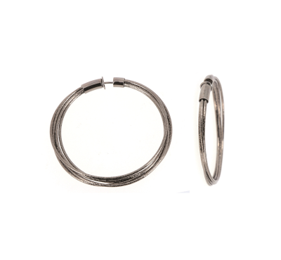 DNA Spring Large Hoop Earrings. Sterling Silver with a Ruthenium Plating. Sterling Silver mesh gives this piece it's flexibility.