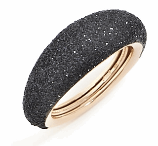 Thin Bombe Polvere Di Sogni Ring. Sterling Silver with an 18K Rose Gold Vermeil. Ring includes butterfly sizing tine along interior of the ring for easy adjustable sizing.