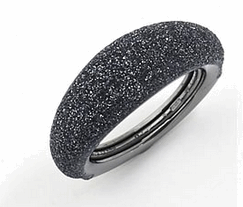 Thin Bombe Polvere Di Sogni Ring. Sterling Silver with a Ruthenium Plating. Ring includes butterfly sizing tine along interior of the ring for easy adjustable sizing.