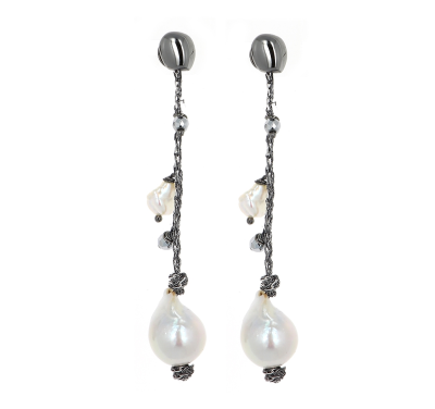 DNA Shine Strand Earrings w/Hematite & Freshwater Cultured Pearls. Sterling Silver with a Ruthenium Plating.