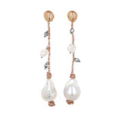 DNA Shine Strand Earrings w/Hematite & Fresh Water Cultured Pearls. Sterling Silver with an 18K Rose Gold Vermeil.