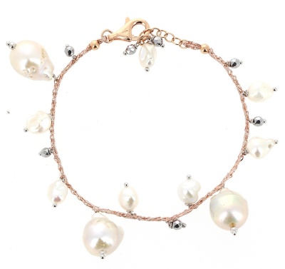 DNA Shine Single Strand Bracelet w/Hematite & Fresh Water Cultured Pearls. Sterling Silver with an 18K Rose Gold Vermeil.