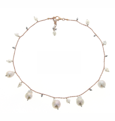 DNA Shine Single Strand Choker w/Hematite & Fresh Water Cultured Pearls. Sterling Silver with an 18K Rose Gold Vermeil.