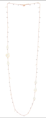 DNA Shine Single Strand Necklace w/Hematite & Tri Fresh Water Cultured Pearl Stations. Sterling Silver with an 18K Rose Gold Vermeil.
