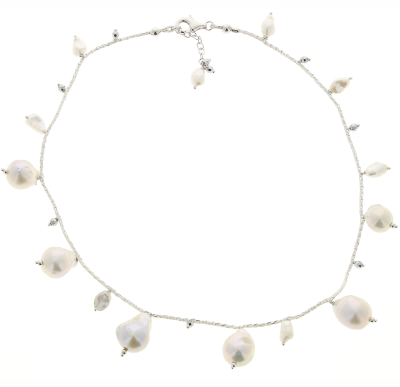 DNA Shine Single Strand Choker w/Hematite with Fresh Water Cultured Pearls. Sterling Silver with a Rhodium Plating.
