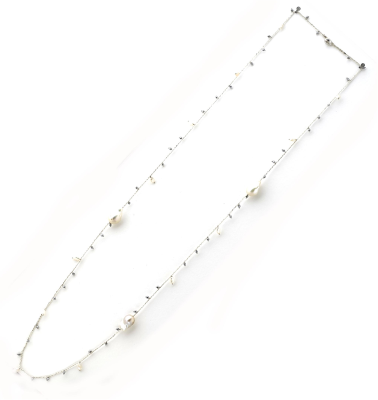 DNA Shine Single Strand Necklace w/Hematite & Fresh Water Cultured Pearls. Sterling Silver with a Rhodium Plating.