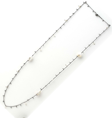 DNA Shine Single Strand Necklace w/Hematite & Fresh Water Cultured Pearls. Sterling Silver with Ruthenium Plating.