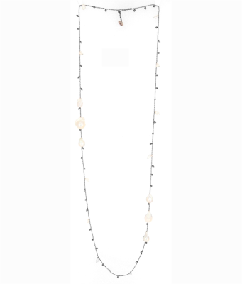 DNA Shine Single Strand Necklace w/Hematite & Tri Fresh Water Cultured Pearl Stations. Sterling Silver with a Ruthenium Plating.