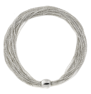 DNA Shine Necklace w/Large Bead Magnetic Clasp. Sterling Silver with a Rhodium Plating.