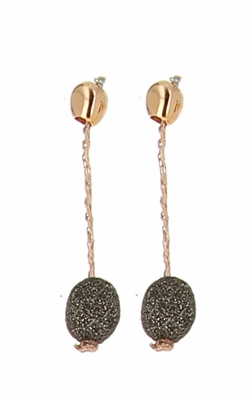 DNA Shine Drop Short Earrings with Polvere Di Sogni Stations. Sterling Silver with an 18K Rose Gold Vermeil.