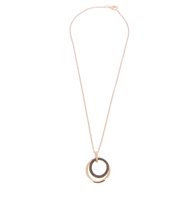Small Polvere Di Sogni Circle Wave Pendant Necklace. Sterling Silver with an 18K Rose Gold Vermeil.