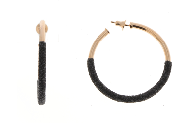 2-Tone Bottom Dipped Polvere Small Hoop Earrings. Sterling Silver with an 18K Rose Gold Vermeil.