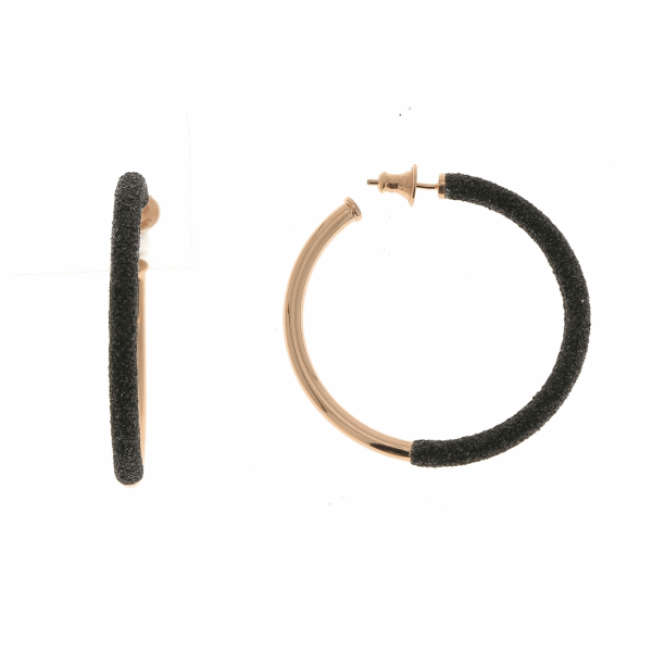Closeup photo of 2-Tone Front Dipped Polvere Small Hoop Earrings - Rose Gold & Black Dust