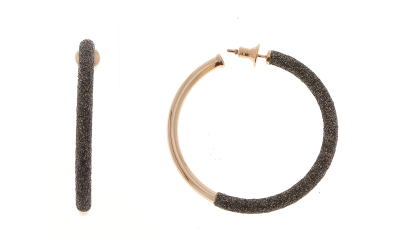 2-Tone Front Dipped Polvere Small Hoop Earrings. Sterling Silver with an 18K Rose Gold Vermeil.
