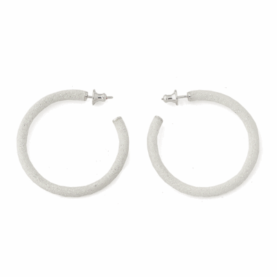 Small Polvere Di Sogni Hoop Earrings. Sterling Silver with a Rhodium Plating.