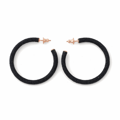 Small Polvere Di Sogni Hoop Earrings. Sterling Silver with an 18K Rose Gold Vermeil.