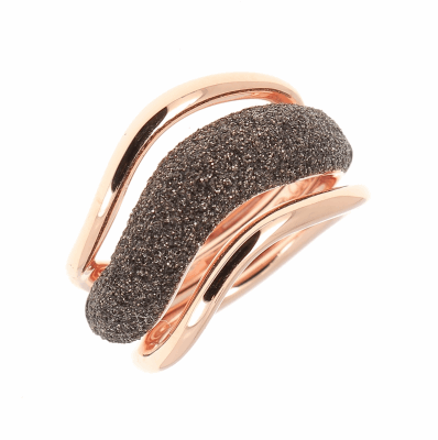 Large Wave Combo Polvere Di Sogni Ring. Sterling Silver with an 18K Rose Gold Vermeil. Ring features butterfly sizing tine along interior of ring for easy sizing.
