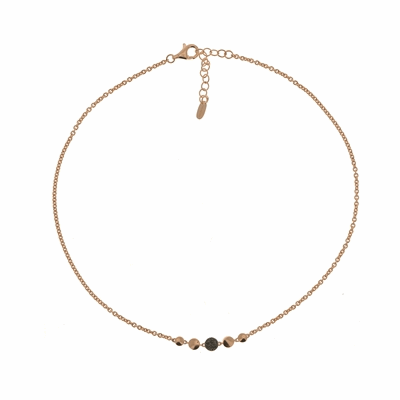 Untie Single Polvere Circle Necklace with Clasp. Sterling Silver with an 18K Rose Gold Vermeil.