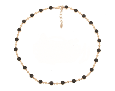 Untie Polvere Circle Choker Necklace with Clasp. Sterling Silver with an 18K Rose Gold Vermeil.