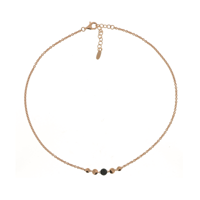 Untie Single Polvere Circle Necklace with Clasp. Sterling Silver with 18K Rose Gold Vermeil.