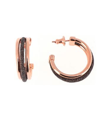 Polvere Di Sogni Multiline Hoops. Sterling Silver with an 18K Rose Gold Vermeil.