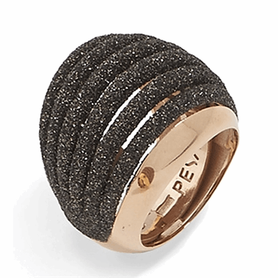 Multiline Dome Polvere Di Sogni Ring. Sterling Silver with an 18K Rose Gold Vermeil. Ring Includes butterfly sizing tines along interior of the ring for easy sizing.