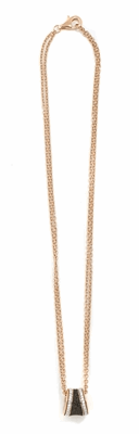 Polvere and Diamond Saddel Pendant Necklace with 0.216Ct. White Diamonds. Sterling Silver with an 18K Rose Gold Vermeil.