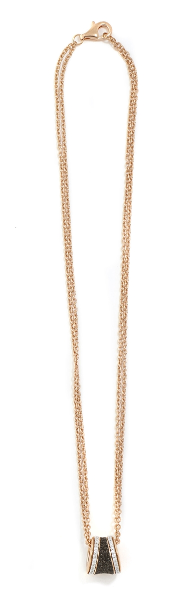 Polvere and Diamond Saddel Pendant Necklace - Rose Gold & Dark Brown Dust - alternate